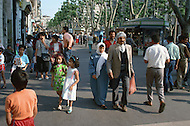 May 1989, Marseille, France. Mixing population in the street of the city.--- Image by © JP Laffont