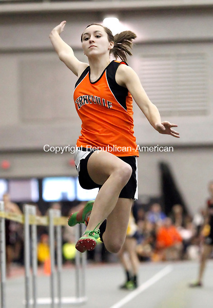 New Haven, CT-06 February 2012-021012CM05-   Terryville's Corie Scharpf competes in the long jump during the Class S Track and Field Championships at the New Haven Athletic center Friday night in New Haven.   Christopher Massa Republican-American