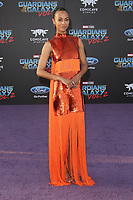 19 April 2017 - Hollywood, California - Zoe Saldana. Premiere Of Disney And Marvel's &quot;Guardians Of The Galaxy Vol. 2&quot; held at the Dolby Theatre. <br /> CAP/ADM<br /> &copy;ADM/Capital Pictures