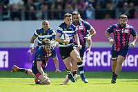 George Ford of Bath Rugby goes on the attack. European Rugby Challenge Cup Semi Final, between Stade Francais and Bath Rugby on April 23, 2017 at the Stade Jean-Bouin in Paris, France. Photo by: Patrick Khachfe / Onside Images