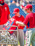 23 May 2015: Philadelphia Phillies guest Bat Boy John Proefrock (center) helps out during batting practice prior to a game against the Washington Nationals at Nationals Park in Washington, DC. The Phillies defeated the Nationals 8-1 in the second game of their 3-game weekend series. Mandatory Credit: Ed Wolfstein Photo *** RAW (NEF) Image File Available ***