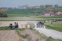 chasing breakaway group racing over the newly added gravel roads around Ploegsteert, called 'Plugstreets'<br /> <br /> 79th Gent-Wevelgem 2017 (1.UWT)<br /> 1day race: Deinze &rsaquo; Wevelgem - BEL (249km)
