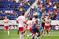 New York Red Bulls goalkeeper Ryan Meara (18) goes up for a ball. The New York Red Bulls defeated the New England Revolution 1-0 during a Major League Soccer (MLS) match at Red Bull Arena in Harrison, NJ, on April 28, 2012.