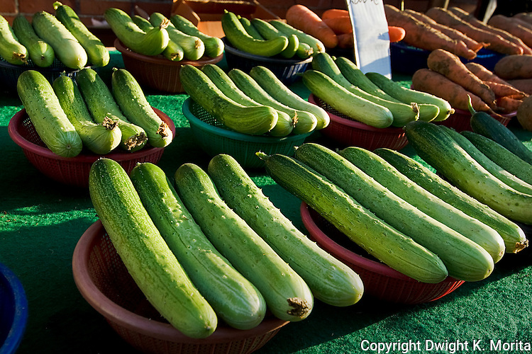 Cucumbers gleam in the afternoon sun while on display in a Wonju, Korea market place