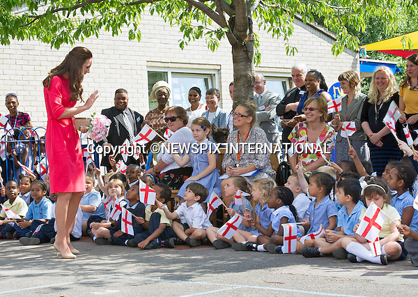 CATHERINE,  DUCHESS OF CAMBRIDGE<br /> visits the Blessed Sacrament School to see the progress of M-PACT Plus, a school based project to address addiction in families, London_01/07/2014<br /> Mandatory Credit Photo: &copy;Dias/NEWSPIX INTERNATIONAL<br /> <br /> **ALL FEES PAYABLE TO: &quot;NEWSPIX INTERNATIONAL&quot;**<br /> <br /> IMMEDIATE CONFIRMATION OF USAGE REQUIRED:<br /> Newspix International, 31 Chinnery Hill, Bishop's Stortford, ENGLAND CM23 3PS<br /> Tel:+441279 324672  ; Fax: +441279656877<br /> Mobile:  07775681153<br /> e-mail: info@newspixinternational.co.uk