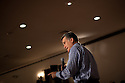 Mitt Romney speaks at a campaign event at VFW Post 8641 in Merrimack, NH on December 30, 2011. After spending the day in Iowa, Romney flew east for the event and will return to Iowa Saturday.  (Matthew Cavanaugh / For The New York Times)