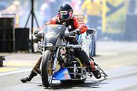 Jun 6, 2016; Epping , NH, USA; NHRA top fuel Harley motorcycle rider Tii Tharpe during the New England Nationals at New England Dragway. Mandatory Credit: Mark J. Rebilas-USA TODAY Sports
