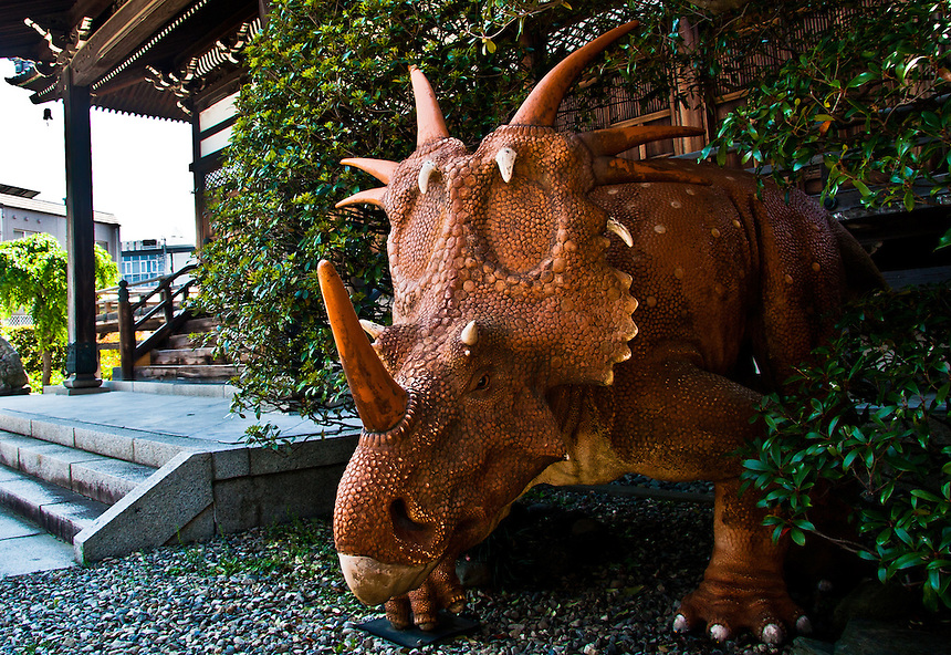 Most temples are guarded by Lions - this is guarded by a Triceratops!