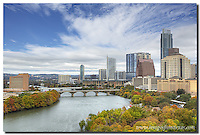 I wanted to capture the fall colors of Austin in this Austin skyline image. Rising tall above Lady Bird Lake is the Austonian, Austin's tallest highrise. Surrounding the lake are colorful trees - cypress and other colorful species. Three days of very cold weather was now beginning to fade, and the blue in the sky was the first Austin had seen in several days.