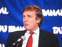 Donald J. Trump makes remarks and answers questions on his new Atlantic City Hotel, the Trump Taj Mahal, at a press conference in Washington, DC on March 1, 1989.<br /> Credit: Arnie Sachs / CNP/MediaPunch