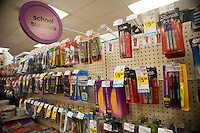 Back to school supplies are seen in a drugstore in New York on Tuesday, August 3, 2010. Stores are beginning to offer earlier than usual back to school specials. (© Richard B. Levine)
