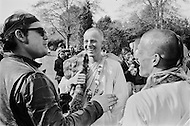 Griffith Park, Hollywood, Los Angeles, CA - March 9, 1969<br /> Members of the religious organization, The International Society for Krishna Consciousness, attempt to enlighten and recruit passerby in Griffith Park.  Interested persons are invited to visit their Krishna temple.<br /> Griffith Park, Hollywood, Los Angeles, Californie. 9 mars 1969.<br /> Les membres de la secte religieuse des Krishna, recrutent dans tous les lieux publics, les gens int&eacute;ress&eacute;s peuvent aller visiter leur temple.