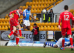 St Johnstone v Ross County.....21.04.13      SPL.Grgeory Tade's header is cleared off the line.Picture by Graeme Hart..Copyright Perthshire Picture Agency.Tel: 01738 623350  Mobile: 07990 594431
