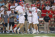 College Park, MD - April 29, 2017: Maryland Terrapins celebrates after a goal during game between John Hopkins and Maryland at  Capital One Field at Maryland Stadium in College Park, MD.  (Photo by Elliott Brown/Media Images International)