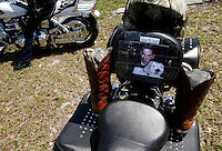PUNTA GORDA, FL -- March 13, 2008 -- A tribute to former Marine Eric Hall sits on a motorcycle during a memorial service at the Faith Lutheran Church in Punta Gorda, Fla., on Thursday, March 13, 2008.  Hall went missing on Feb. 3 after having a flashback to his time in Iraq, and was found dead weeks later by the Vietnam veteran volunteers in a culvert.