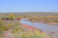 Navajo County, Arizona – A view of the Puerco River that flows through the Painted Desert. For most of the year, the river is a braided wash containing little or no water. The Painted Desert is a broad region of rocky badlands featuring unique rocks in a variety of hues - lavenders, grays, reds, oranges and pinks. Located in Northeastern Arizona, the Painted Desert attracts hundreds of thousands a visitors each year. Photo by Eduardo Barraza © 2014