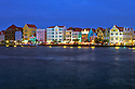 Punda waterfront shops, restaurants, and buildings at night; Willemstad, Curacao, Netherlands Antilles.