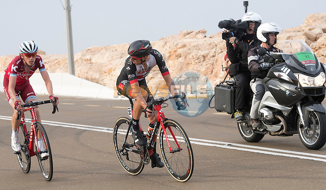 Ilnur Zakarin (RUS) Katusha Alpecin and Rui Costa (POR) UAE Abu Dhabi climb Jebel Hafeet near the end of Stage 3 Al Maryah Island Stage of the 2017 Abu Dhabi Tour, starting at Al Ain and running 186km to the mountain top finish at Jebel Hafeet, Abu Dhabi. 25th February 2017<br /> Picture: ANSA/Claudio Peri | Newsfile<br /> <br /> <br /> All photos usage must carry mandatory copyright credit (&copy; Newsfile | ANSA)