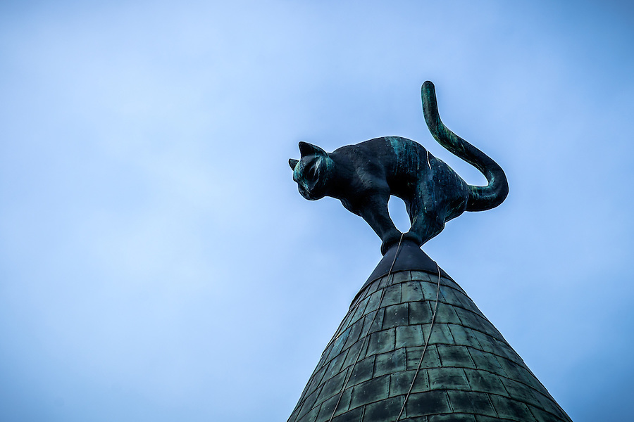 RIGA, LATVIA - CIRCA JUNE 2014: Detail of rooftop decoration at the Cat House building, a landmark in Riga
