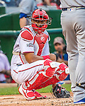 7 October 2016: Washington Nationals catcher and Baseball America top prospect Pedro Severino glances back to the dugout during the NLDS Game 1 against the Los Angeles Dodgers at Nationals Park in Washington, DC. The Dodgers edged out the Nationals 4-3 to take the opening game of their best-of-five series. Mandatory Credit: Ed Wolfstein Photo *** RAW (NEF) Image File Available ***