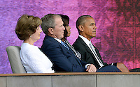(L to R) : Former First Lady Laura Bush, former President George W. Bush, U.S President Barack Obama and First Lady Michelle Obama attend the opening ceremony of the Smithsonian National Museum of African American History and Culture on September 24, 2016 in Washington, DC. The museum is opening thirteen years after Congress and President George W. Bush authorized its construction. <br /> Credit: Olivier Douliery / Pool via CNP / MediaPunch
