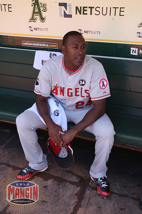 OAKLAND, CA - JULY 19:  Gary Matthews #24 of the Los Angeles Angels of Anaheim gets ready in the dugout before the game against the Oakland Athletics at the Oakland-Alameda County Coliseum on July 19, 2009 in Oakland, California. Photo by Brad Mangin