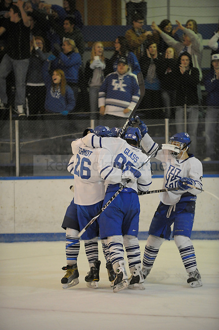 UK players celebrate after a goal during the University of Kentucky Men's hockey game against Akron at Lexington Ice Center in Lexington, Ky., on 2/18/11. Uk won the game 8-3. Photo by Mike Weaver | Staff