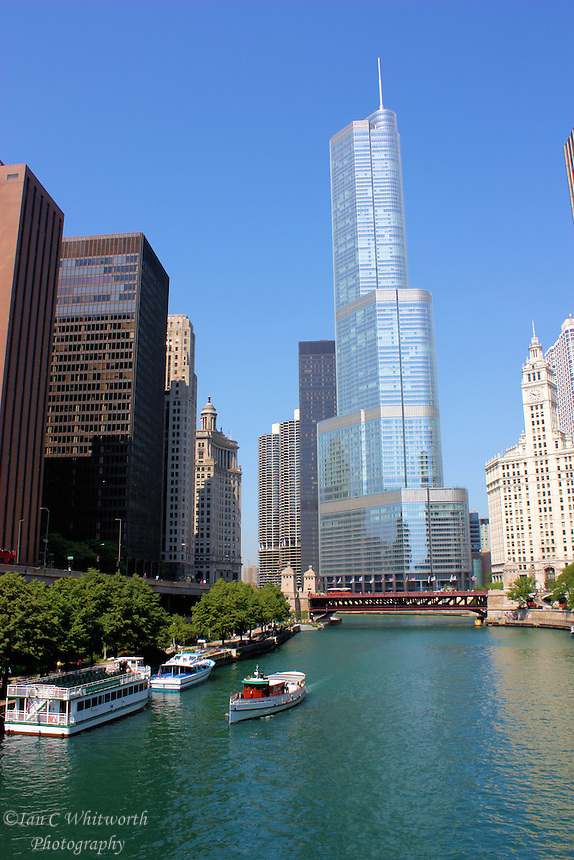 A view of the Trump International Tower on the Chicago River