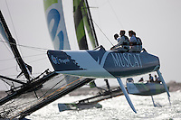 26th September  2010. Trapani. Italy..The Wave Muscat EX40 catamaran Skippered by Paul Campbell-James. Bowman Khamis Al Anbouri. Trimmer Nick Hutton and mainsheet Alister Richardson. Rights free for editorial use. Credit: Lloyd Images.