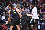 DALLAS, TX - MARCH 31:  Karlie Samuelson #44 of the Stanford Cardinal is helped off the court by Alanna Smith #11 during the 2017 Women's Final Four at American Airlines Center on March 31, 2017 in Dallas, Texas. (Photo by Justin Tafoya/NCAA Photos via Getty Images)