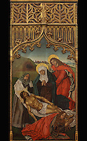Deposition of Christ from the cross, painting, late 15th century, by Portuguese School, from the altarpiece of the Convento de Santa Clara, in the Museu Nacional de Machado de Castro, Coimbra, Portugal. The museum was opened in 1913 and renovated 2004-2012. The city of Coimbra dates back to Roman times and was the capital of Portugal from 1131 to 1255. Its historic buildings are listed as a UNESCO World Heritage Site. Picture by Manuel Cohen