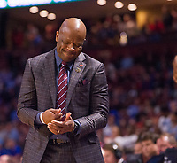 NWA Democrat-Gazette/J.T. WAMPLER Arkansas head coach Mike Anderson pounds his fist during the second half against North Carolina Sunday March 19, 2017 during the second round of the NCAA Tournament at the Bon Secours Wellness Arena in Greenville, South Carolina. The Tar Heels beat the Razorbacks 72-65 eliminating them from the tournament.