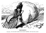 """Excelsior! Suffragist. """"It's no good talking to me about Sisyphus; He was only a man!"""" (a Suffragette tries to push a large Women's Suffrage rock up the Parliament hill)"""