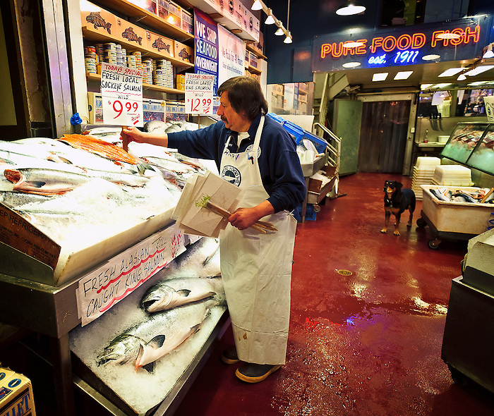 Harry and Anna at Pure Food Fish Market at Pike Place Market, Seattle