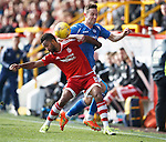 Aberdeen v St Johnstone...03.10.15   SPFL   Pittodrie, Aberdeen<br /> Shay Logan and Steven MacLean<br /> Picture by Graeme Hart.<br /> Copyright Perthshire Picture Agency<br /> Tel: 01738 623350  Mobile: 07990 594431