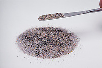 MAGNET ATTRACTS IRON FILINGS MIXED IN SAND (2 of 3)<br />