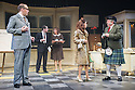 Colchester, Essex, UK. 25.10.2013. THE OPINION MAKERS musical premieres at Colchester Mercury Theatre. In the cast are Mel Giedroyc, David Mounfield, Daniel Boys, Julie Atherton, Justin Edwards, Ben Stratton and Stacey Ghent.  It is directed by Mercury Artistic Director Daniel Buckroyd, with design by Sara Perks, lighting by Philip Gladwell, and sound by Tom Lishman. Picture shows: Justin Edwards (Fernsby), Daniel Boys (Penhall), Mel Giedroyc (Lassiter), Julie Atherton (Mrs Campbell) and David Mounfield (Campbell). Photograph © Jane Hobson.