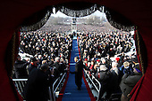 Washington, DC - January 20, 2009 -- Barack H. Obama shakes hands as he walks to the podium to be sworn-in as the 44th President of the United States during the inauguration ceremony on the West Front of the United States Capitol in Washington, DC, Tuesday, January 20, 2009..Credit: Jim Bourg - Pool via CNP