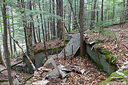 Site of the abandoned Bemis Granite Quarry along the Sawyer River in Harts Location, New Hampshire. Dr. Samuel Bemis quarried granite from this site, which he owned at the time, during the 1860s to build Notchland, a granite mansion in Hart's Location.