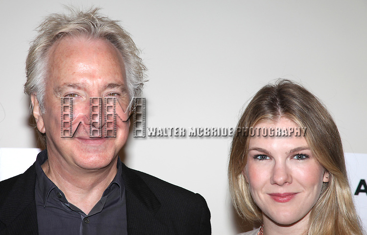 Alan Rickman and Lily Rabe.attending the New Broadway Production 'Seminar' Meet & Greet at the Foxwoods Rehearsal Studioa in New York City.