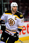 22 April 2009: Boston Bruins' defenseman and Team Captain Zdeno Chara from the Slovak Republic warms up prior to facing the Montreal Canadiens at the Bell Centre in Montreal, Quebec, Canada. The Canadiens, down three games to none, are facing elimination and a possible four-game sweep by the Division winning Bruins. ***** Editorial Sales Only ***** Mandatory Credit: Ed Wolfstein Photo