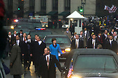 Washington, DC - January 20, 2001 -- United States President George W. Bush and First Lady Laura Bush walk in the Inaugural parade..Credit: Ron Sachs / CNP