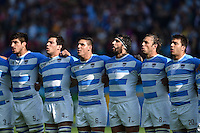 The Argentina team sing their national anthem prior to the match. Rugby World Cup Pool C match between Argentina and Tonga on October 4, 2015 at Leicester City Stadium in Leicester, England. Photo by: Patrick Khachfe / Onside Images