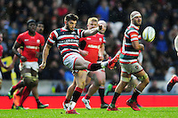Owen Williams of Leicester Tigers puts boot to ball. Aviva Premiership match, between Leicester Tigers and Saracens on January 1, 2017 at Welford Road in Leicester, England. Photo by: Patrick Khachfe / JMP