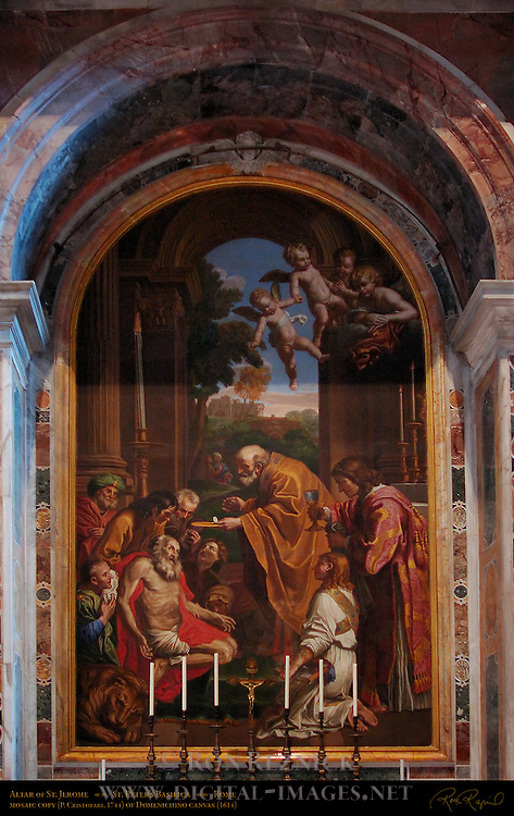 Last Communion of St Jerome Pietro Paolo Cristofari 1744 mosaic reproduction of Domenico Zampieri 1614 masterpiece canvas St Peter's Basilica Rome