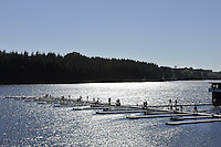 Hamilton, NEW ZEALAND.  GV's general Views of the start pontoon and training area. 2010 World Rowing Championship on Lake Karapiro Sunday  31/10/2010. [Mandatory Credit Peter Spurrier:Intersport Images].