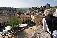 View over the town. The main square with cafes. The town. Saint Emilion, Bordeaux, France