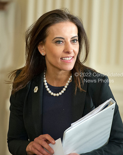 Dina Powell, Deputy National Security Advisor for Strategy arrives prior to United States President Donald J. Trump and Secretary General Jens Stoltenberg of NATO conducting a joint press conference in the East Room of the White House in Washington, DC on Wednesday, April 12, 2017.<br /> Credit: Ron Sachs / CNP