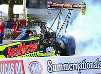 Jun 10, 2016; Englishtown, NJ, USA; NHRA top fuel driver J.R. Todd during qualifying for the Summernationals at Old Bridge Township Raceway Park. Mandatory Credit: Mark J. Rebilas-USA TODAY Sports