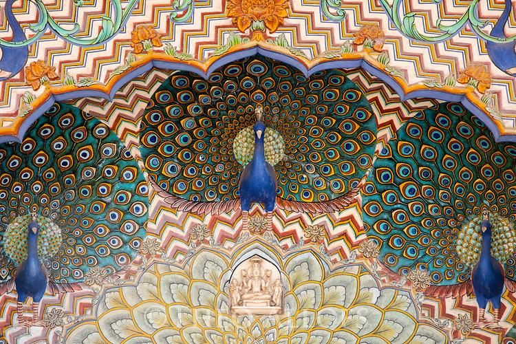 India, Jaipur, Jaipur City Palace, Peacock painting above door